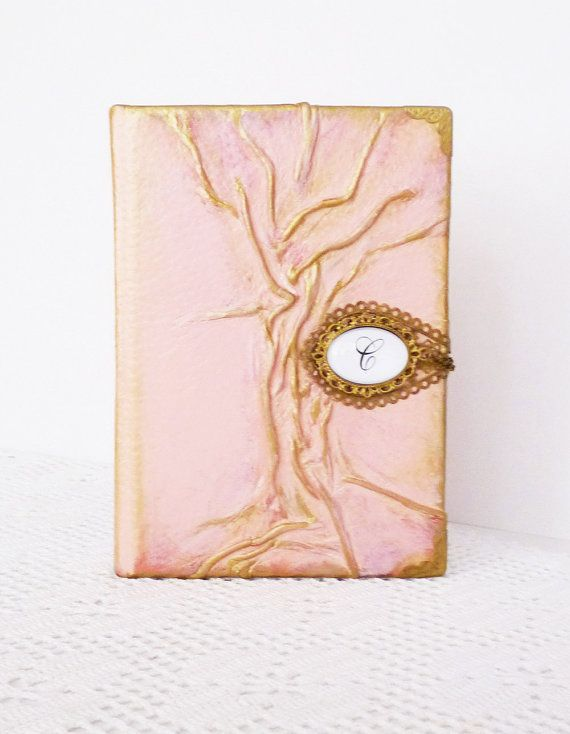 Personalized Leather Journal Pink Diary Custom Gold by AnnaKisArt ... 9e3ee3877