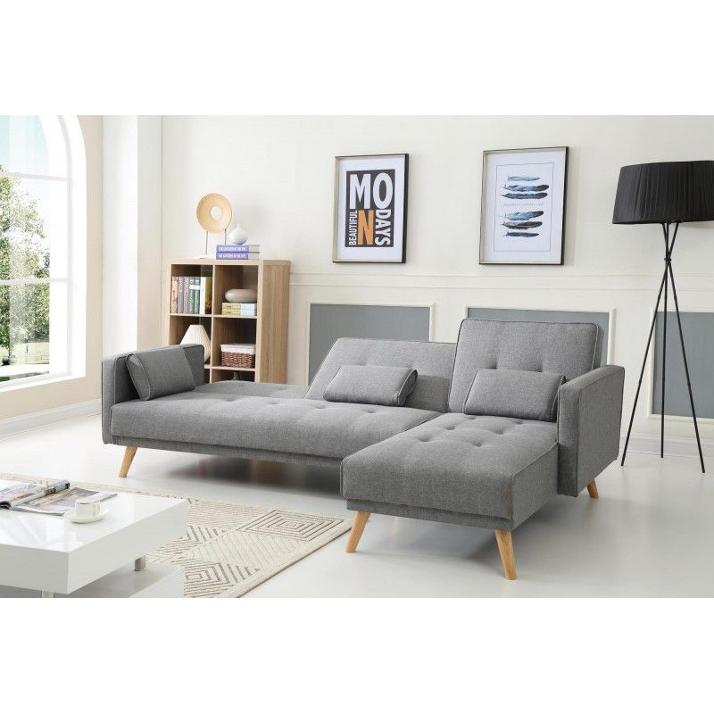 scandinave canap d 39 angle r versible convertible 267x151x88cm gris clair house. Black Bedroom Furniture Sets. Home Design Ideas