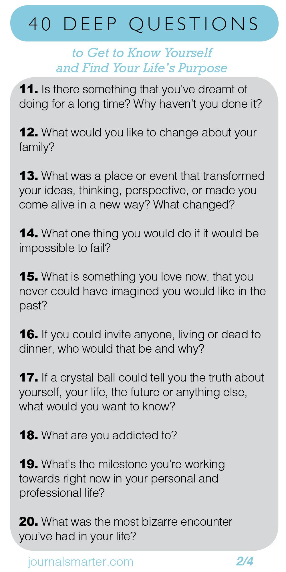 40 Deep Questions To Get To Know Yourself and Your Life Purpose 2/4