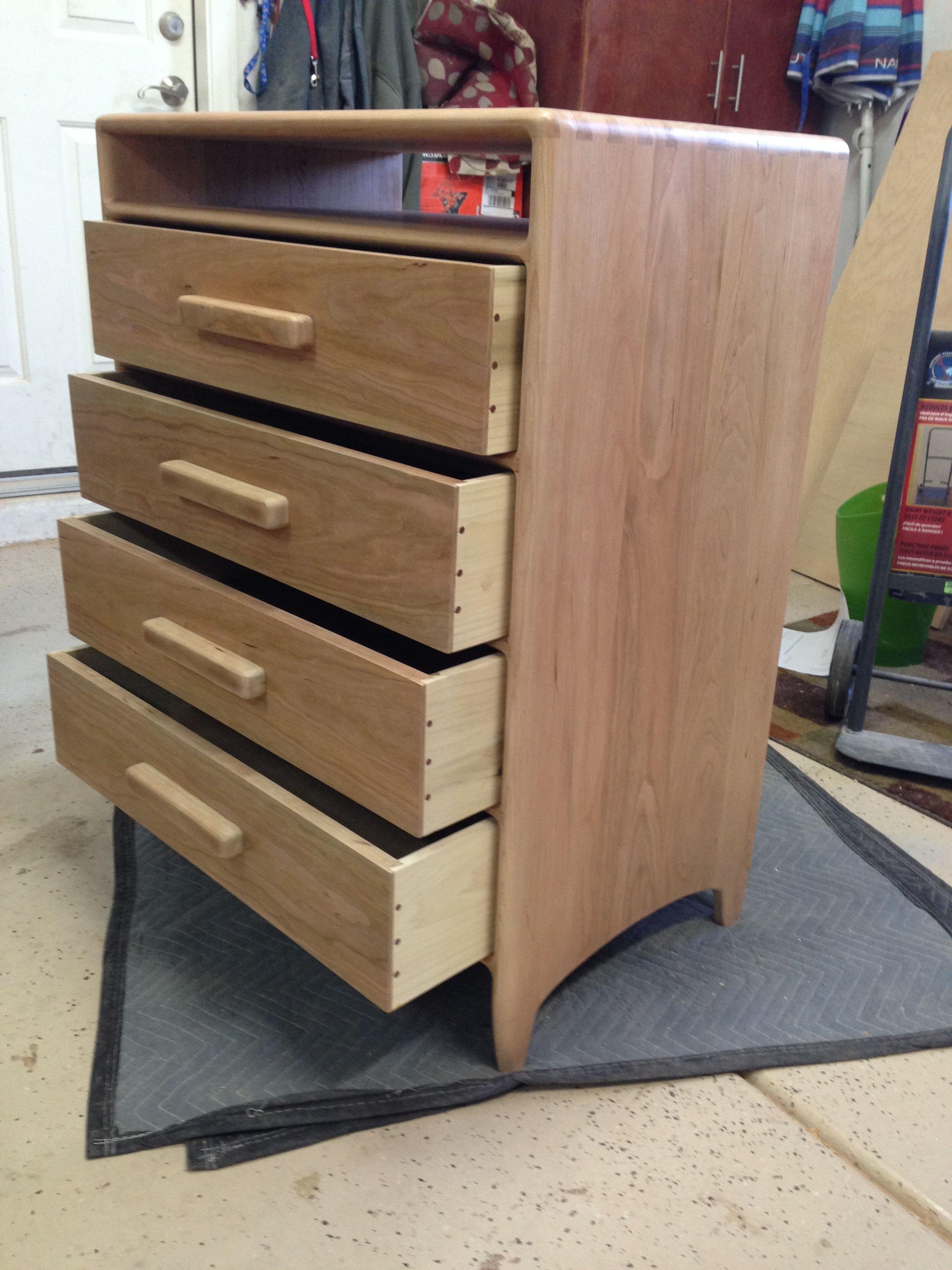 Sam Maloof inspired cherry chest of drawers custom furniture