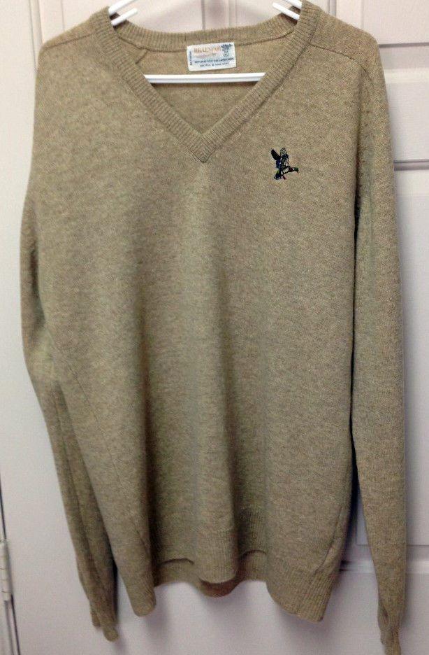 Braemar Sweater Men's Size XL Beige Scottish Lambswool V Neck  #Braemar #VNeck #Sweater