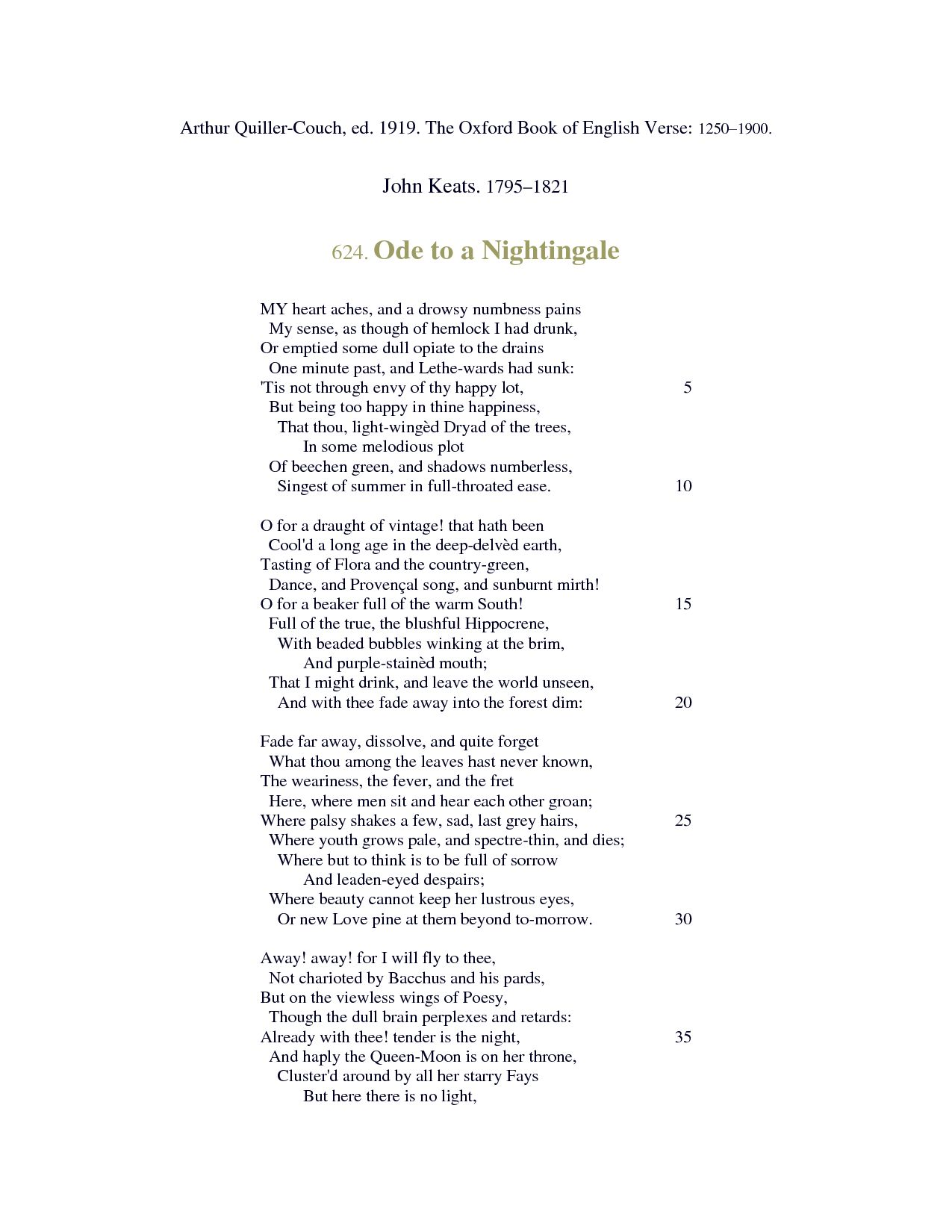 keats ode to a nightingale essay After losing his mother and brother to tuberculosis, and developing signs of the sickness himself, john keats begins to analyze life and death in his personal poem ode to a nightingale (stott, jones, and bowers 144).