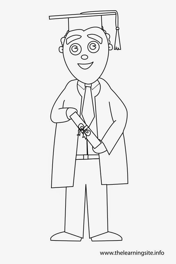 Coloring Page Outline Graduation Boy Toga Diploma 599