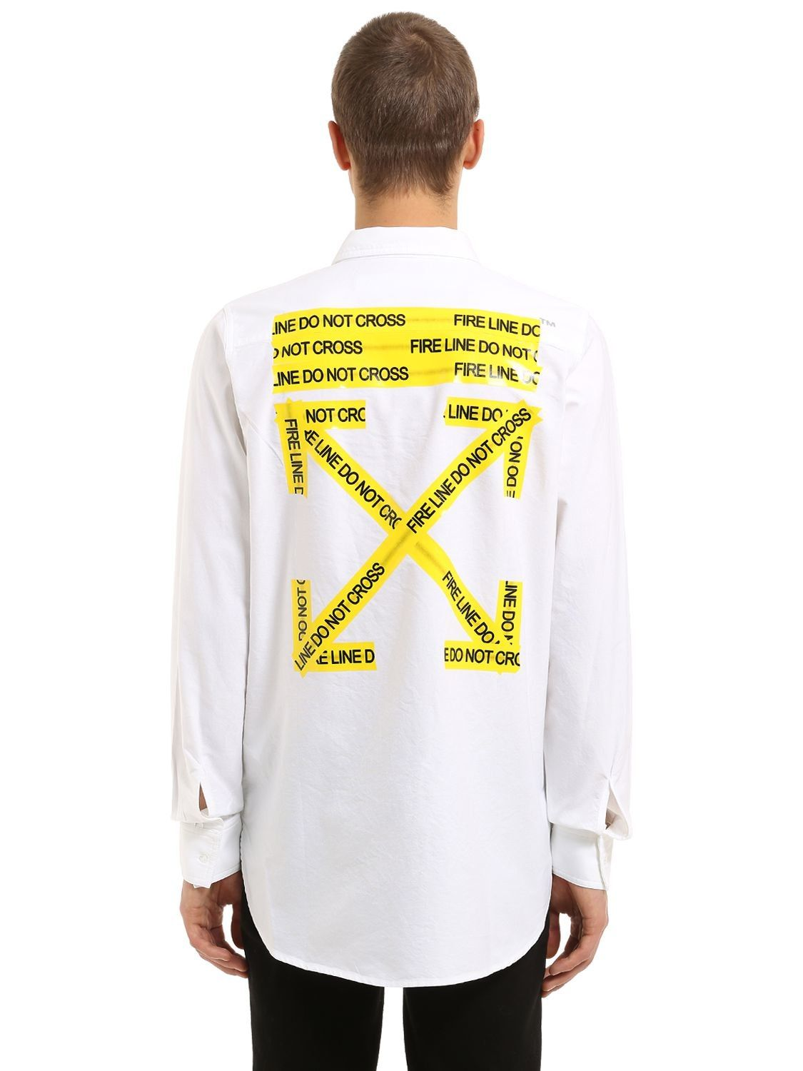23c4f0a7 OFF-WHITE OVERSIZE FIRE LINE COTTON POPLIN SHIRT. #off-white #cloth ...