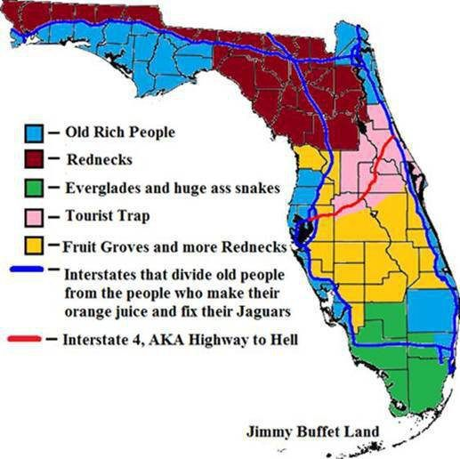 Highway Map Of Florida.The Best Map Florida I Live In The Pink And Gold County This Map