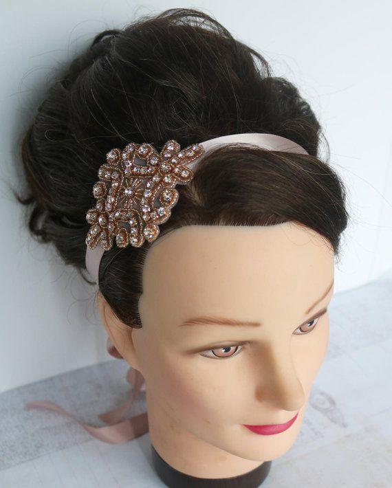 rose gold headband Satin and rose gold rhinestone  1a382b754b0