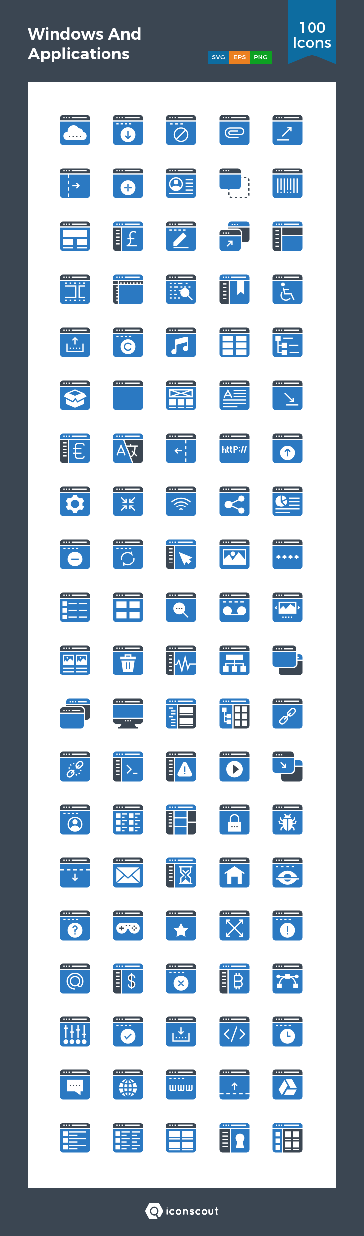 Windows And Applications Icon Pack - 100 Flat Icons   Design