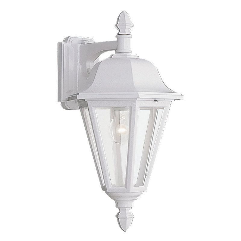 Captivating Sea Gull Lighting 8825 Classic Cast Outdoor 1 Light Lantern Wall Sconce White  Outdoor Lighting Wall