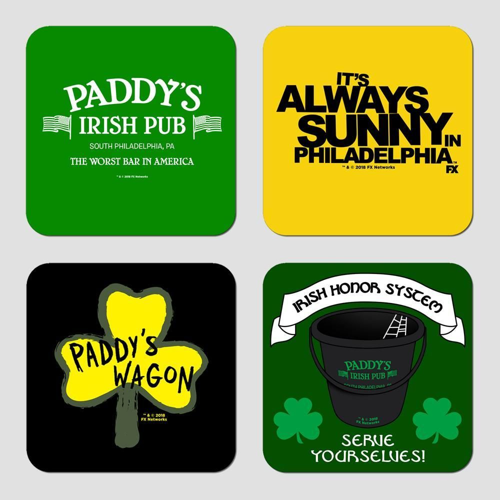This It S Always Sunny In Philadelphia Coaster Set Features A Different Image On Each It S Always Sunny In Philadelphia Sunny In Philadelphia It S Always Sunny