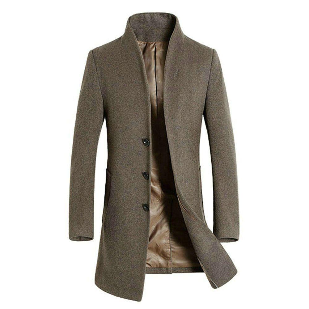 Mens Wool Trench Coat Jacket Mid Long Winter Warm Jacket Peacoat ...