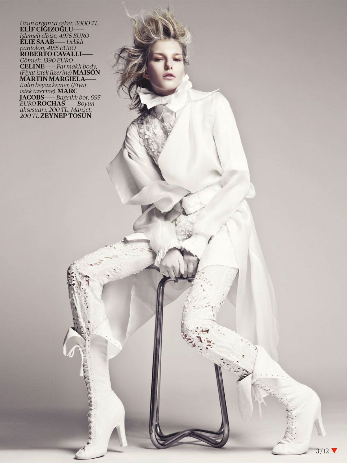 White Fashion Editorial For Vogue Turkey April 2013