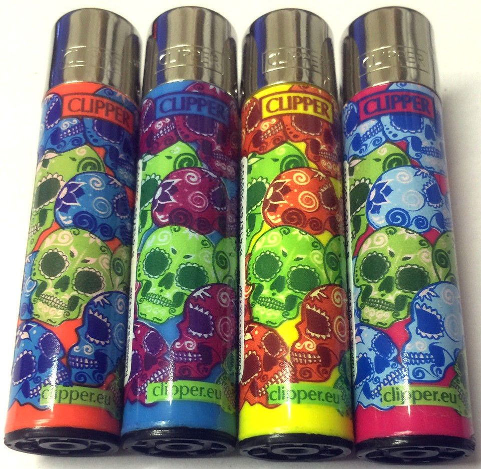 4 x CLIPPER LIGHTERS FLINT SKULL SKELETON MUERTA COLOURFUL