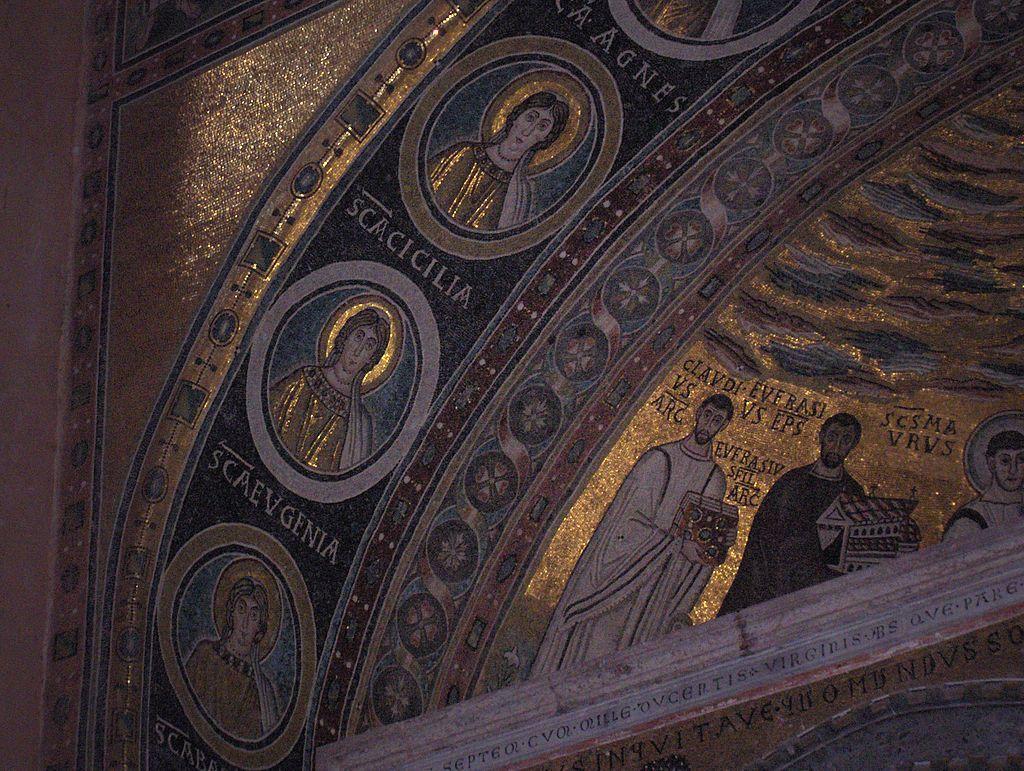 Basilica Eufrasiana, Parenzo, Croazia.  Mosaico intorno alla metà del VI sec. Arte bizantina