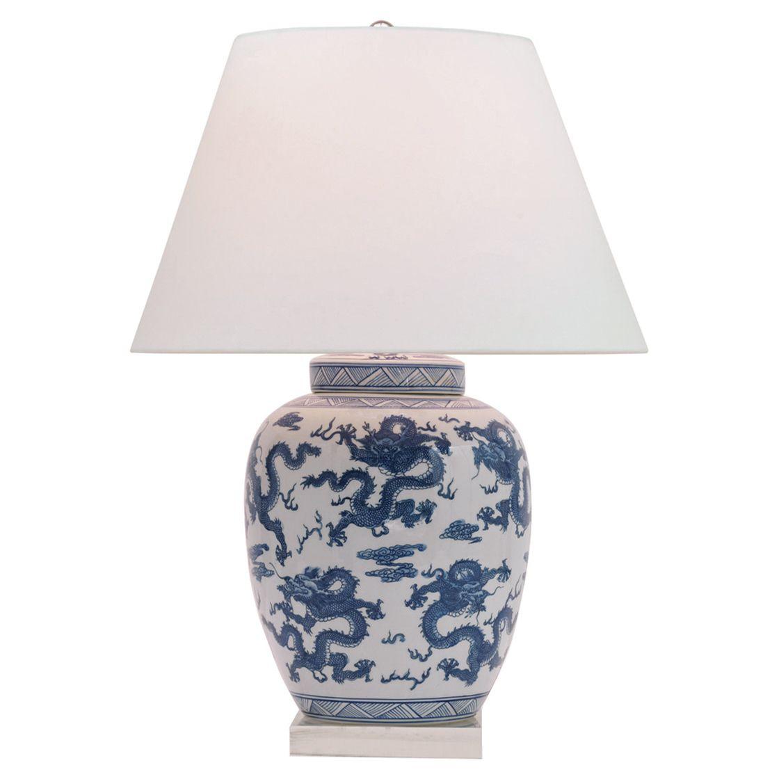 Cannon Global Blue Dragon Motif Porcelain Lucite Table Lamp White Table Lamp Table Lamp Lamp