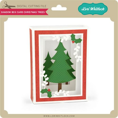 Shadow box card with chrsitmas trees on the front