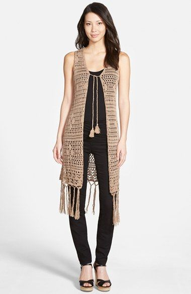 Love Fate Destiny Long Crochet Vest with Fringe available at #Nordstrom