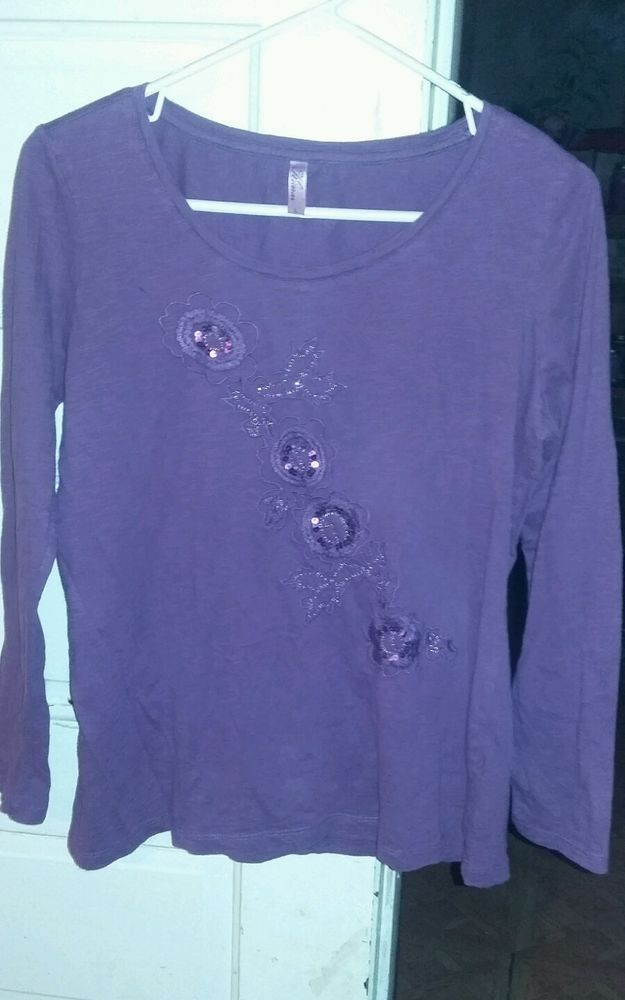 Kiara size L women's long sleeve sequined purple blouse  #kiara #Blouse #EveningOccasion