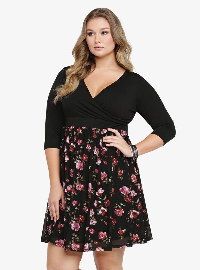 71f7207de7825 Plus Size Floral Print Skater Dress Torrid