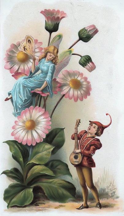 Викторианские открытки с изображениями ангелочков и эльфов. …
