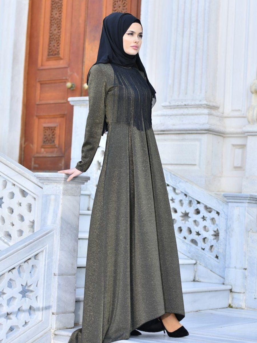 Sefamerve Tesettur Uzun Puskullu Abiye Elbise Modelleri Moda Tesettur Giyim Elbise Modelleri Elbise Moda Stilleri