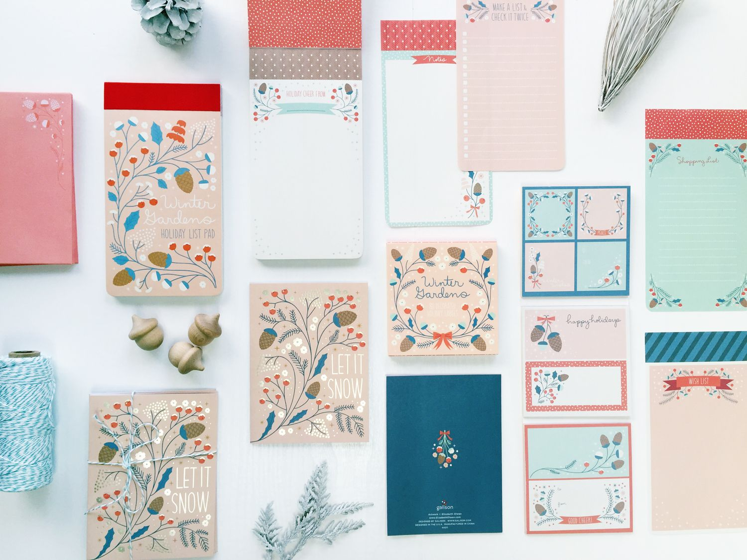 New-York-based Galison creates high-quality, design-forward stationery  goods with leading designers and Elizabeth is thrilled to have collaborated  with them on a series of products for Holiday 2015. Pink for holiday? Yes  please!