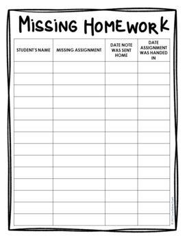 missing homework notes tracking sheet