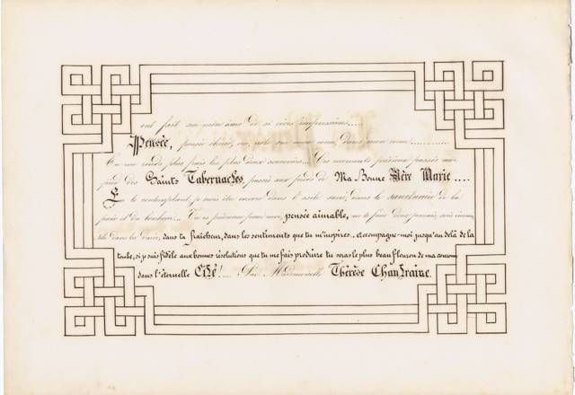 19th Century French School Child's Calligraphy