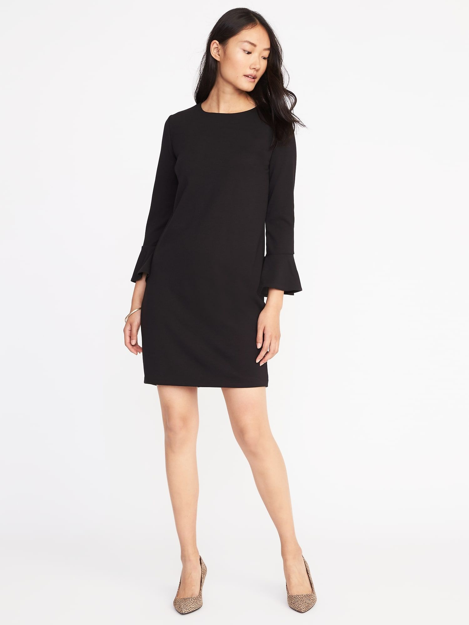 636524bed7650b Ponte-Knit Flute-Sleeve Shift Dress for Women