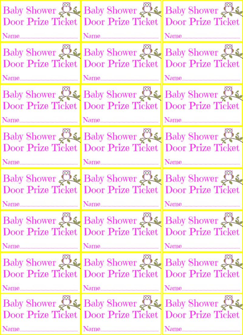 Baby Shower Girl Owl Door Prize Ticket Free Printable