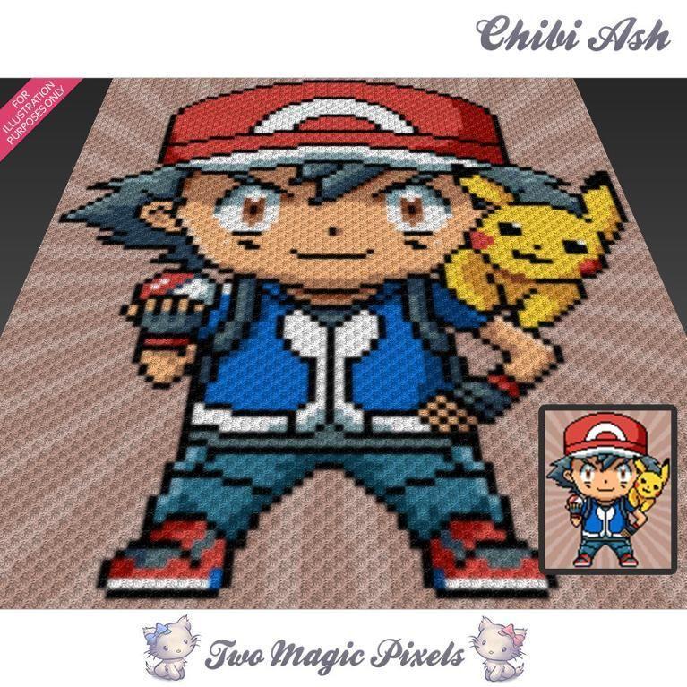 Ash and Pikachu C2C Crochet Graph   Manta, Ganchillo y Crear