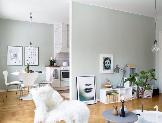 Un interior en armonía gris, blanco y madera Gris, Madera y Blanco