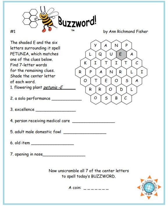 Free Printable Word Games Buzzwords Variety Puzzles Printable
