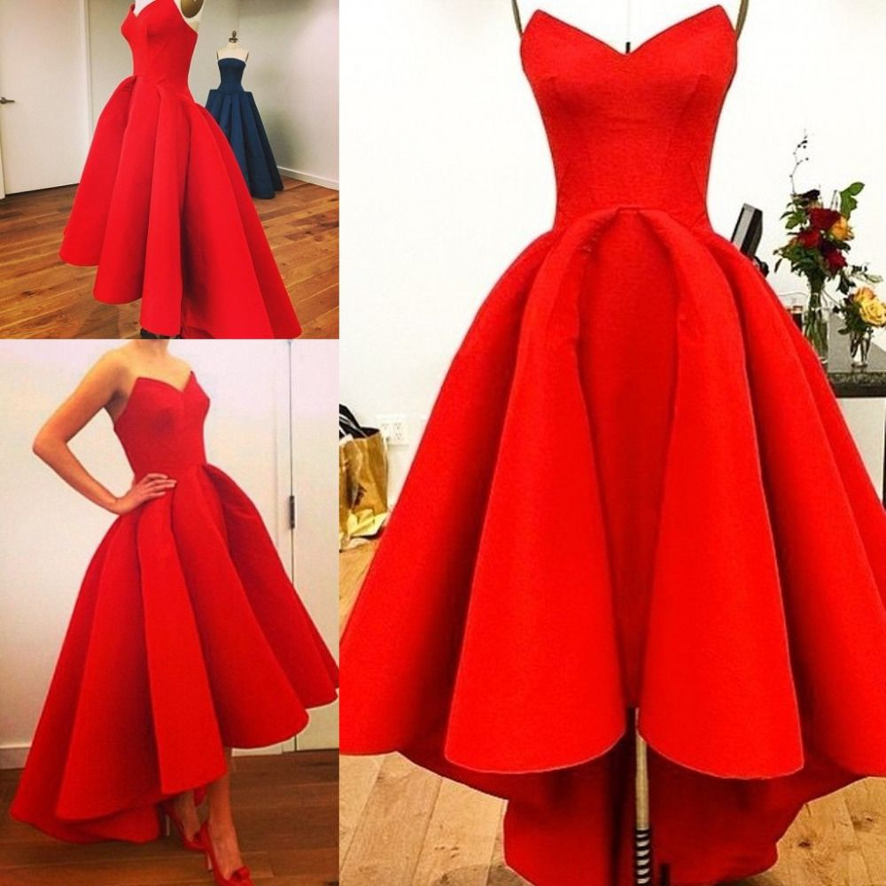 Real photos red evening dress with sexy off the shoulder