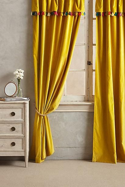Amazing Wallpaper   Firenze Velvet Tassel Curtain I Anthropologie.com   Yellow  Velvetu2026