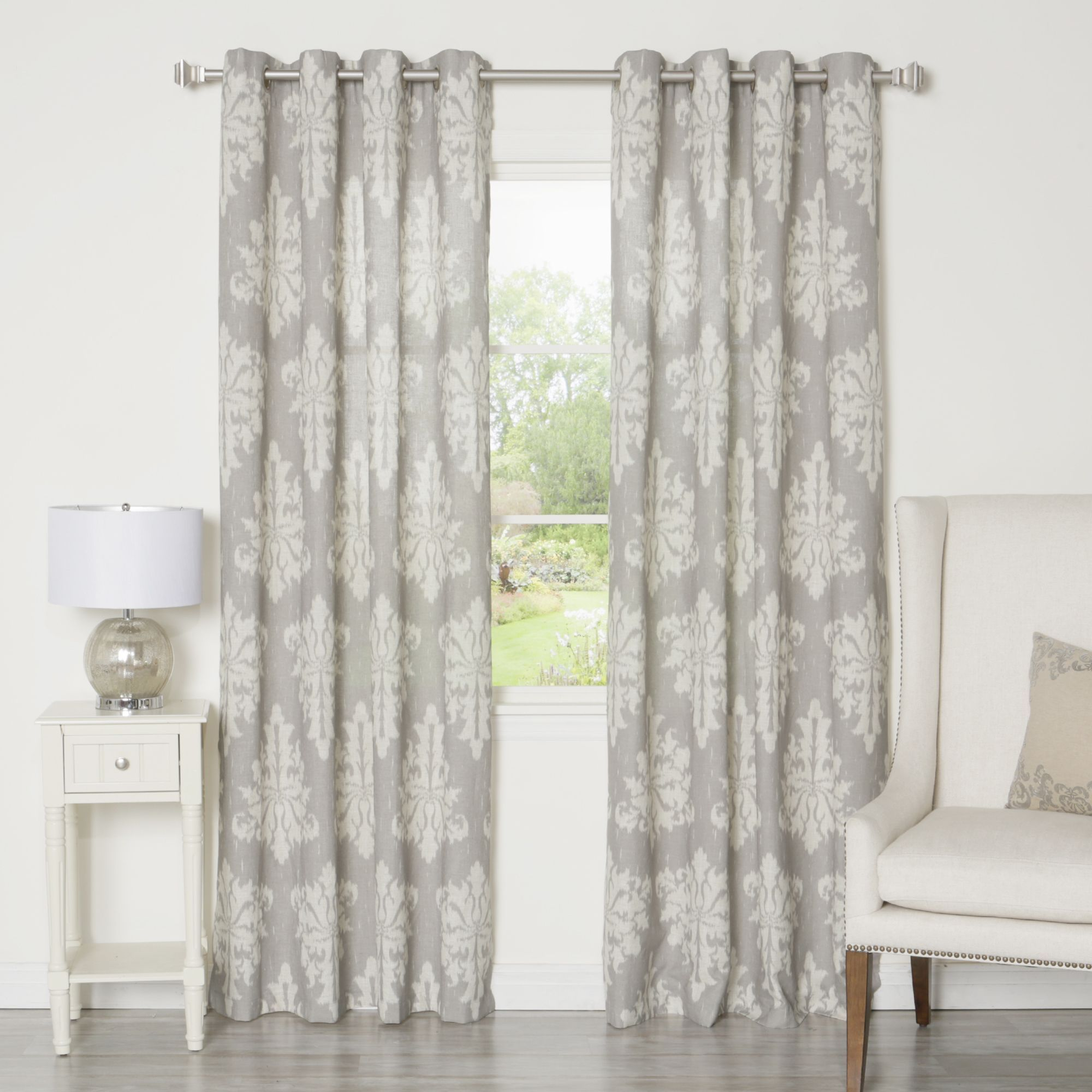 Aurora Home Ikat Linen Grommet Top 84 Inch Curtain Panel Pair 52
