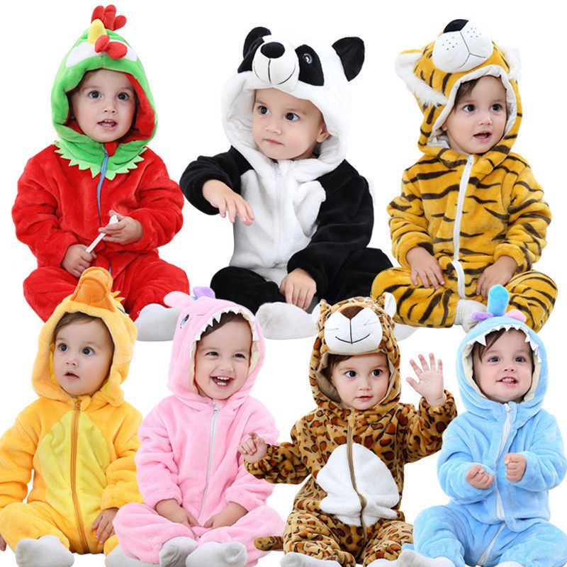 283193cb961e Cartoon Animal Jumpsuit Baby Girl Boy Rompers Long Sleeve Hooded Infant  Flannel  BabyJumpsuitChina  Everyday