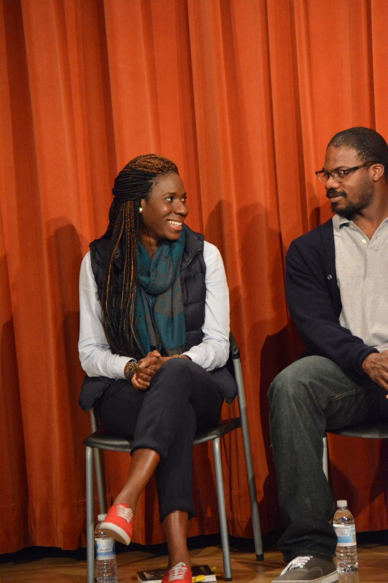 Set Designer Dede M. Ayite and Actor Marcus Henderson at the Inside Scoop for A Raisin in the Sun, opening May 21 at the Bruns Amphitheater in Orinda.  Photo by Jay Yamada.
