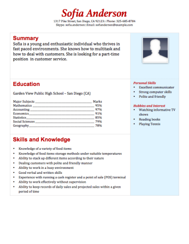 Part Time Grocery Store Resume