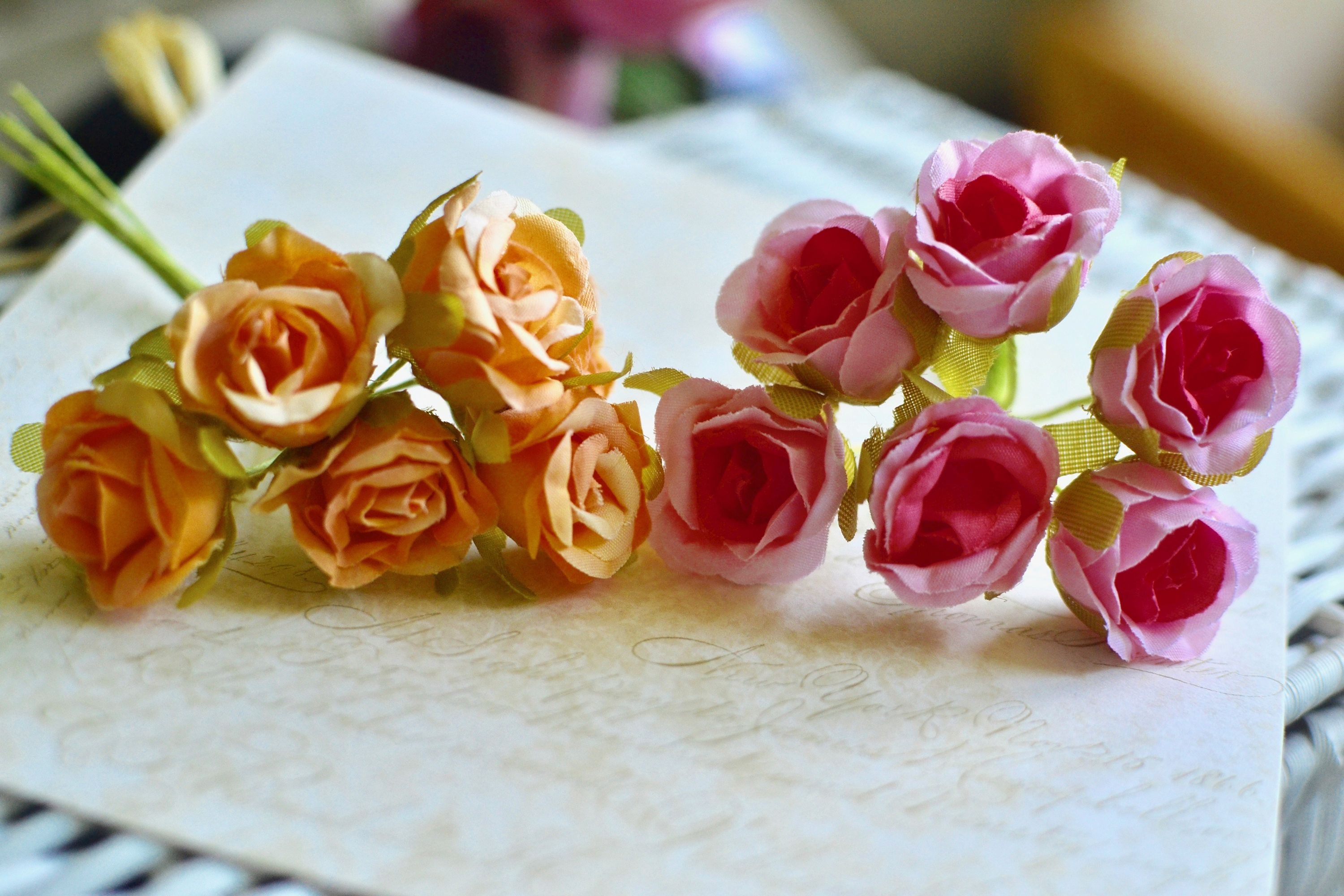 6 small artificial roses i pink rose i orange rose i fabric roses i small pink and orange artificial roseflower bunch with stems for decoration hair crafts and other craft projects colour pink and orange measurements 6 mightylinksfo