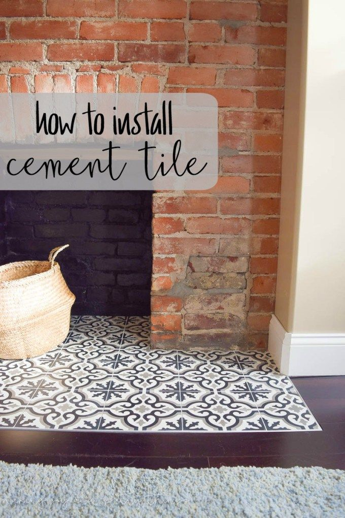 One Room Challenge Week 4 How To Install Cement Tile Fireplace Hearth Tiles Fireplace Tile