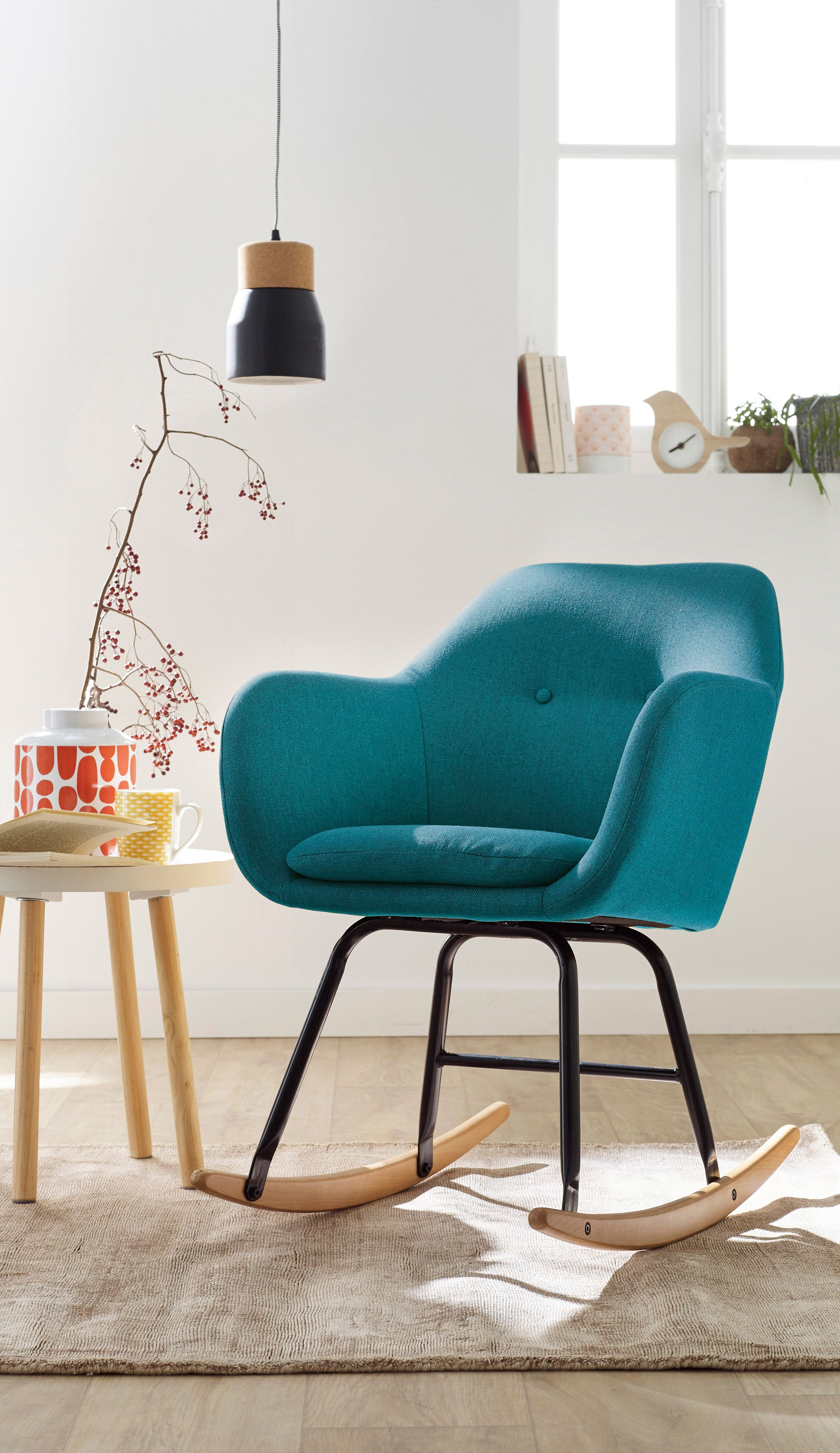 emilia salon fauteuil bascule en tissu bleu p trole alin a pi ce de vie s salon en. Black Bedroom Furniture Sets. Home Design Ideas