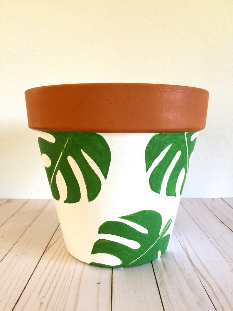 Hand Painted 12 Inch Monstera Terracotta Clay Pot Hand Etsy Painted Pots Diy Plant Pot Diy Painted Plant Pots