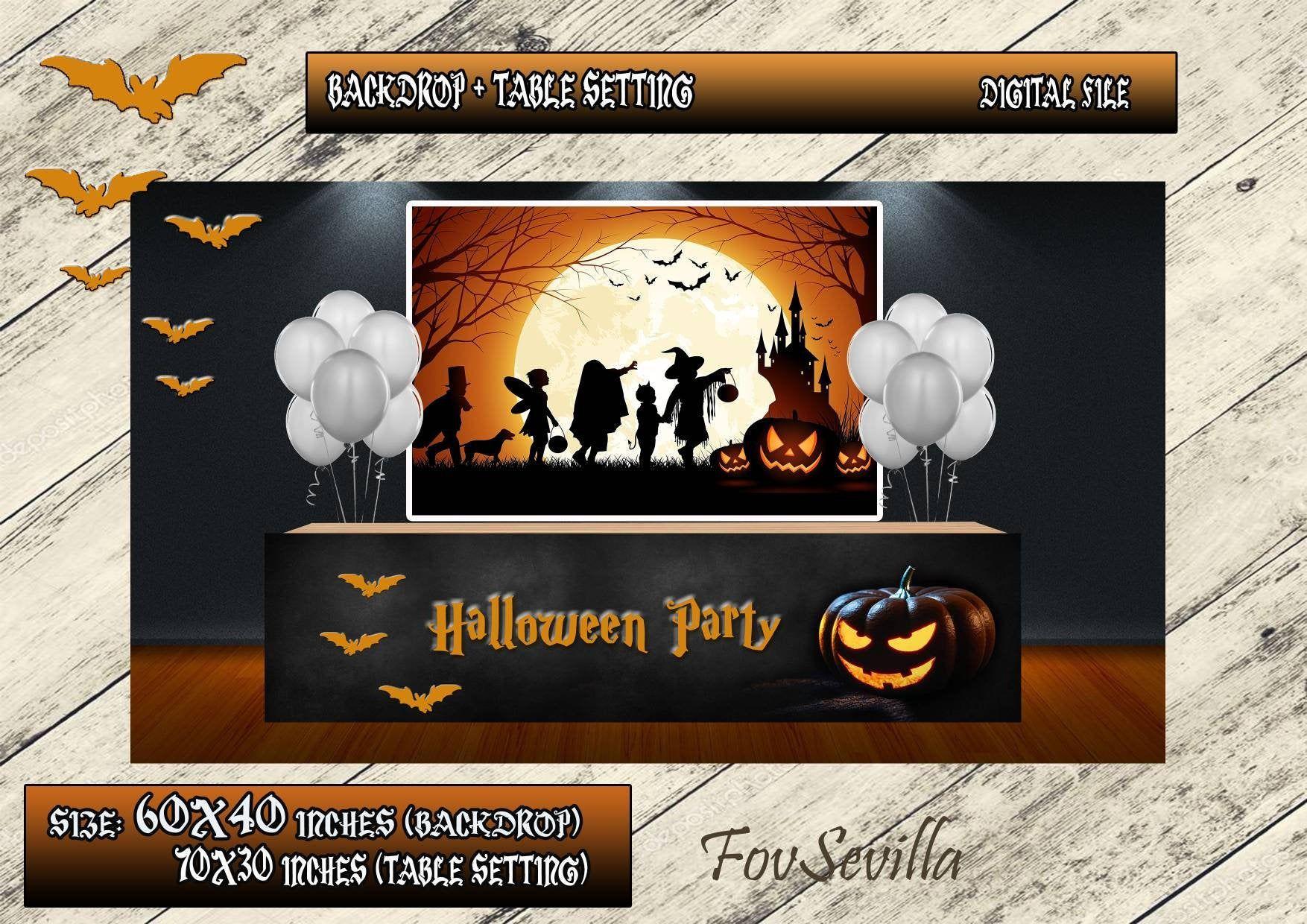 Quiero Compartir Lo último Que He Añadido A Mi Tienda De Etsy Halloween Backdrop Co Telones De Fondo Imprimibles Halloween Fiestas De Cumpleaños Para Chicos