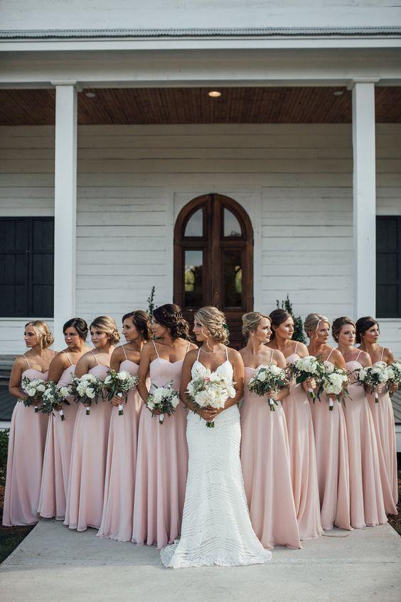 Pink spaghetti strap chiffon long bridesmaid dress