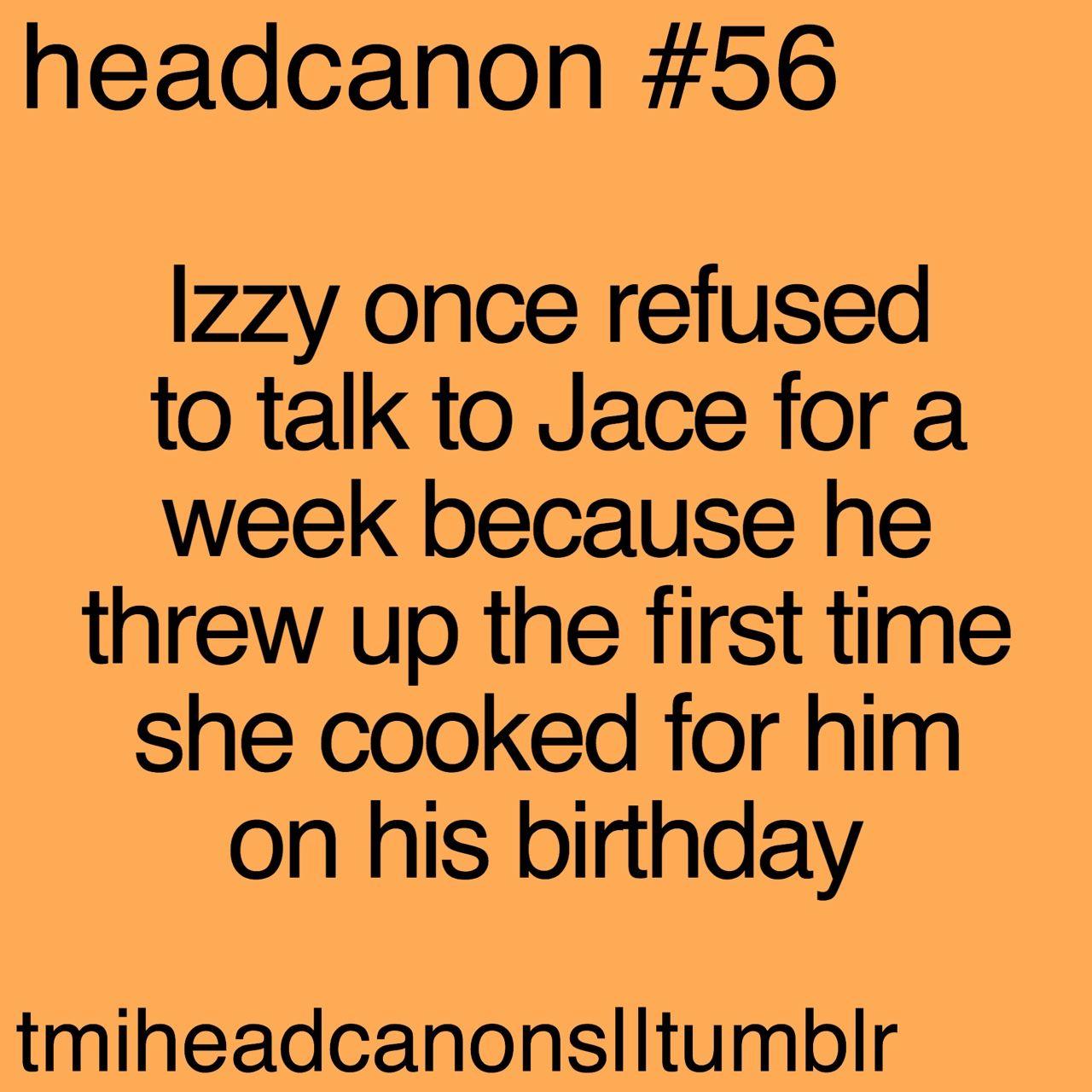 #TMI #Headcanon   Jace and Izzy's cooking