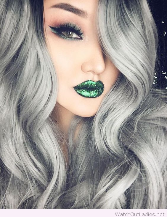Grey Hair Color Green Lips And Eyes