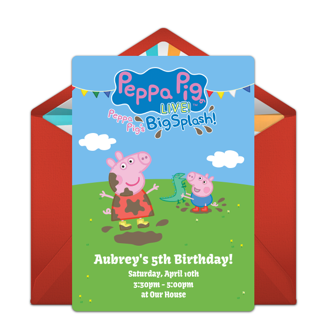 Customizable Free Peppa Pig Live Online Invitations Easy To Personalize And Send For A Party Punchbowl