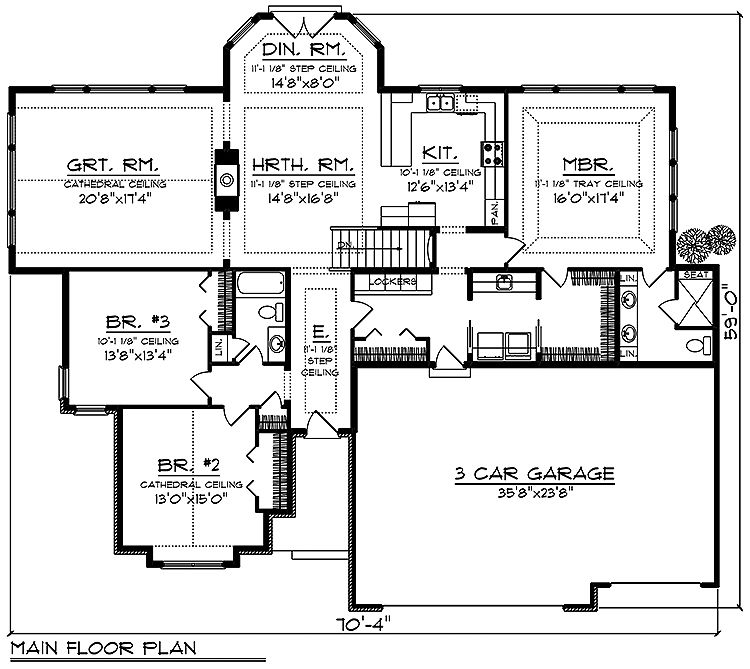 Room Dimensions Garage 35 8 X 23 8 Hearth Room 14 8 X 16 8 Bedroom 3 13 8 X 13 4 Ranch Style House Plans Floor Plans Ranch Garage Floor Plans
