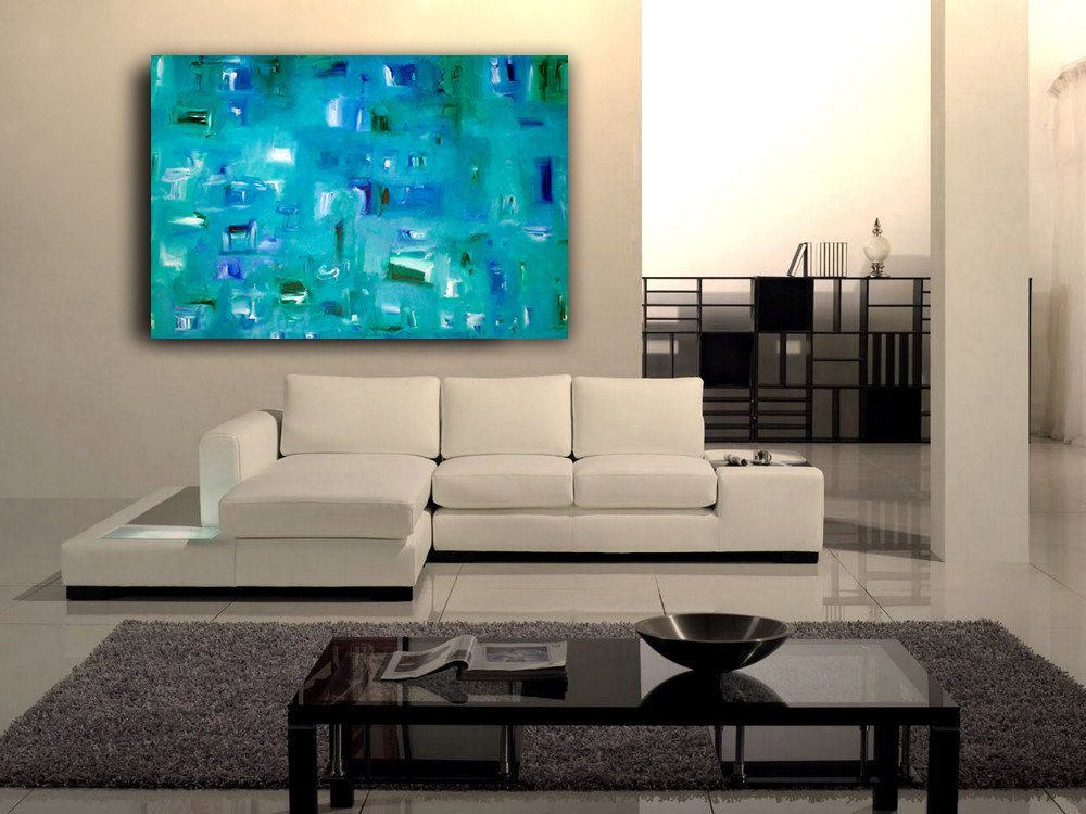 Atlantis Original Modern Abstract Contemporary Art Painting Size 48 X 30 Acrylic On Canvas By A J With Images Modern White Sofa Modern Sofa Sectional Sectional Sofa