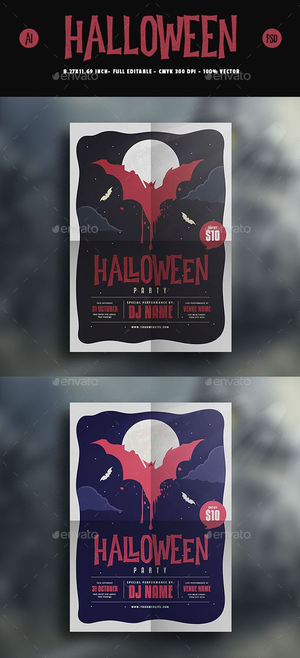 Halloween Dracula Flyer Dracula, Flyer template and Ai illustrator